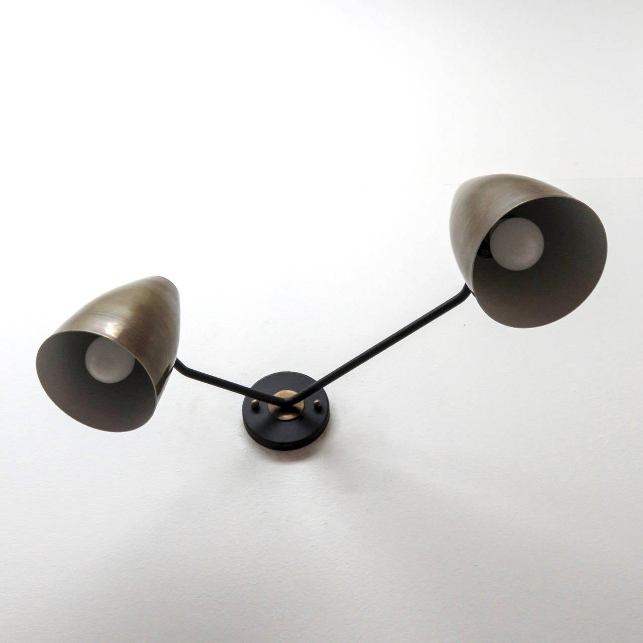 American Double Arm Brass Wall Lights 'L3G' For Sale