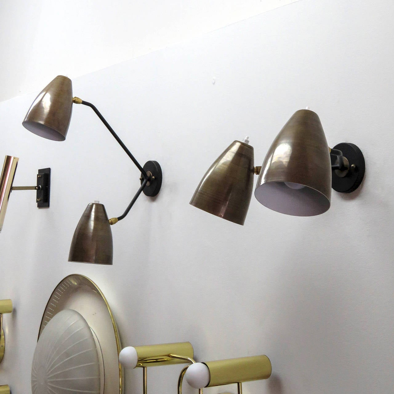 Enameled Double Arm Brass Wall Lights 'L3G' For Sale