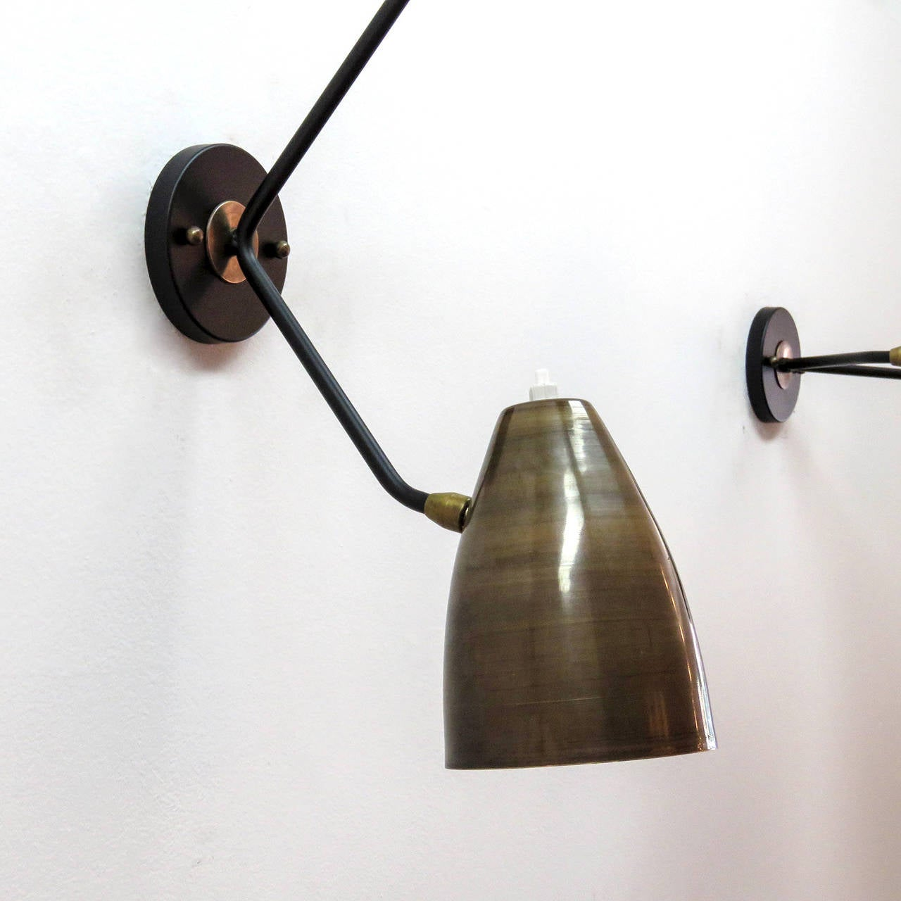 Double Arm Brass Wall Lights 'L3G' In Excellent Condition For Sale In Los Angeles, CA