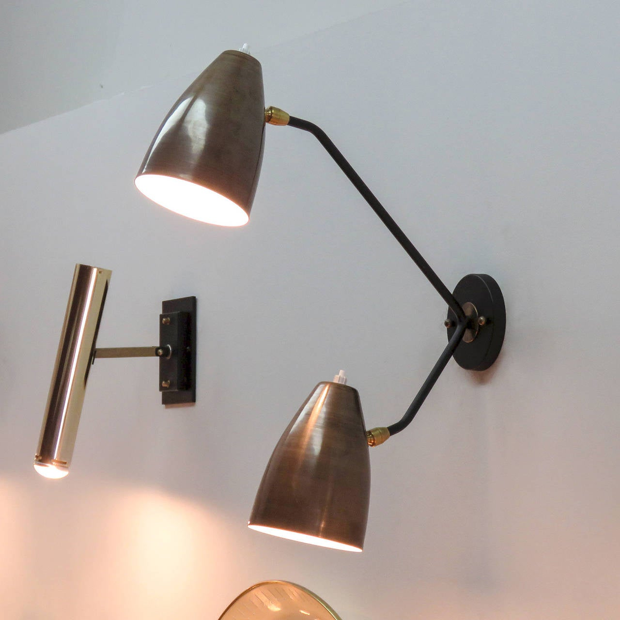 Metal Double Arm Brass Wall Lights 'L3G' For Sale
