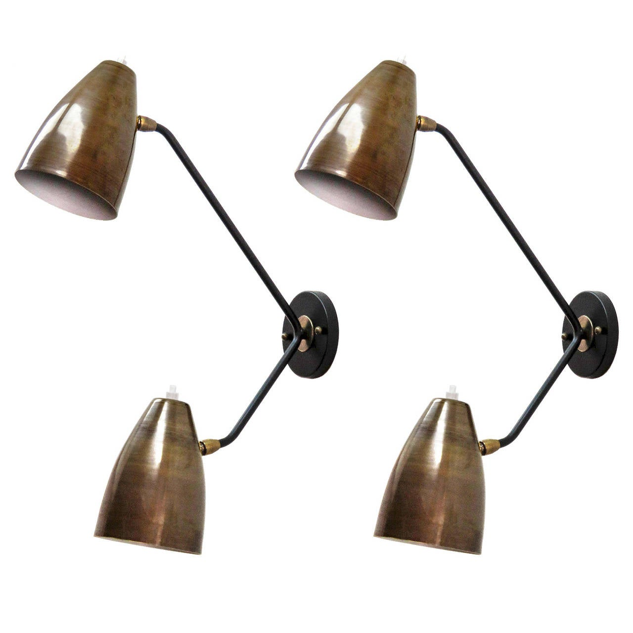 Double Arm Brass Wall Lights 'L3G' For Sale
