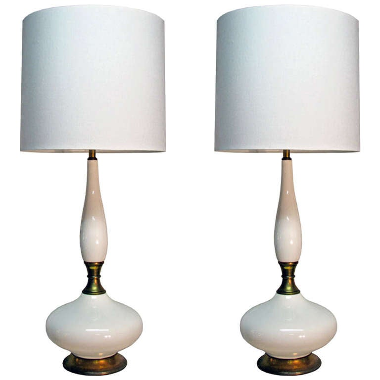 Pair of Tall Ceramic Table Lamps For Sale