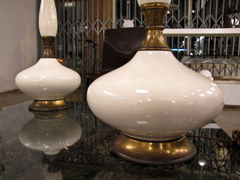 American Pair of Tall Ceramic Table Lamps For Sale