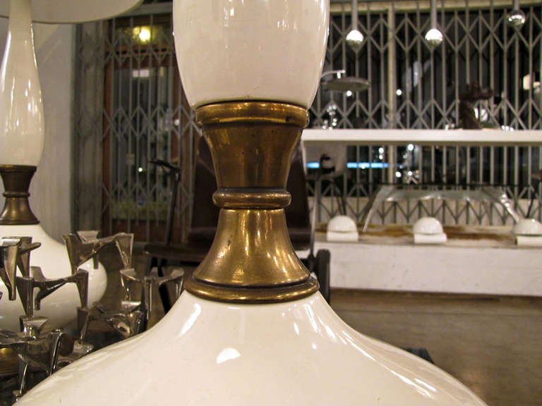 Glazed Pair of Tall Ceramic Table Lamps For Sale