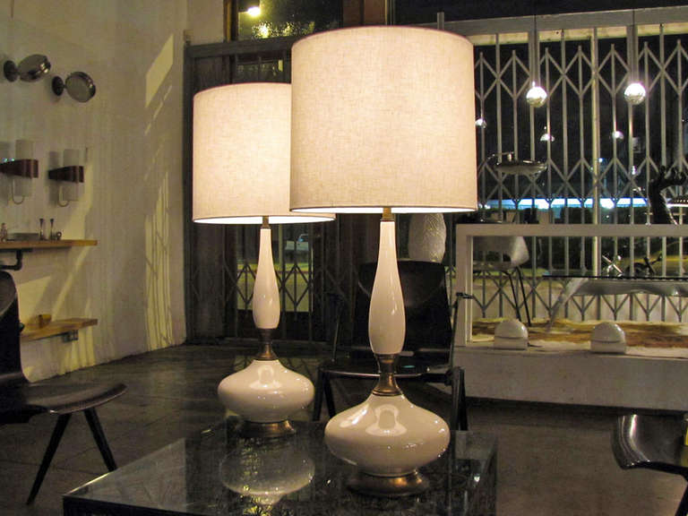 Brass Pair of Tall Ceramic Table Lamps For Sale