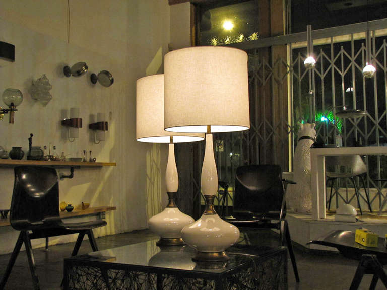 Pair of Tall Ceramic Table Lamps For Sale 1