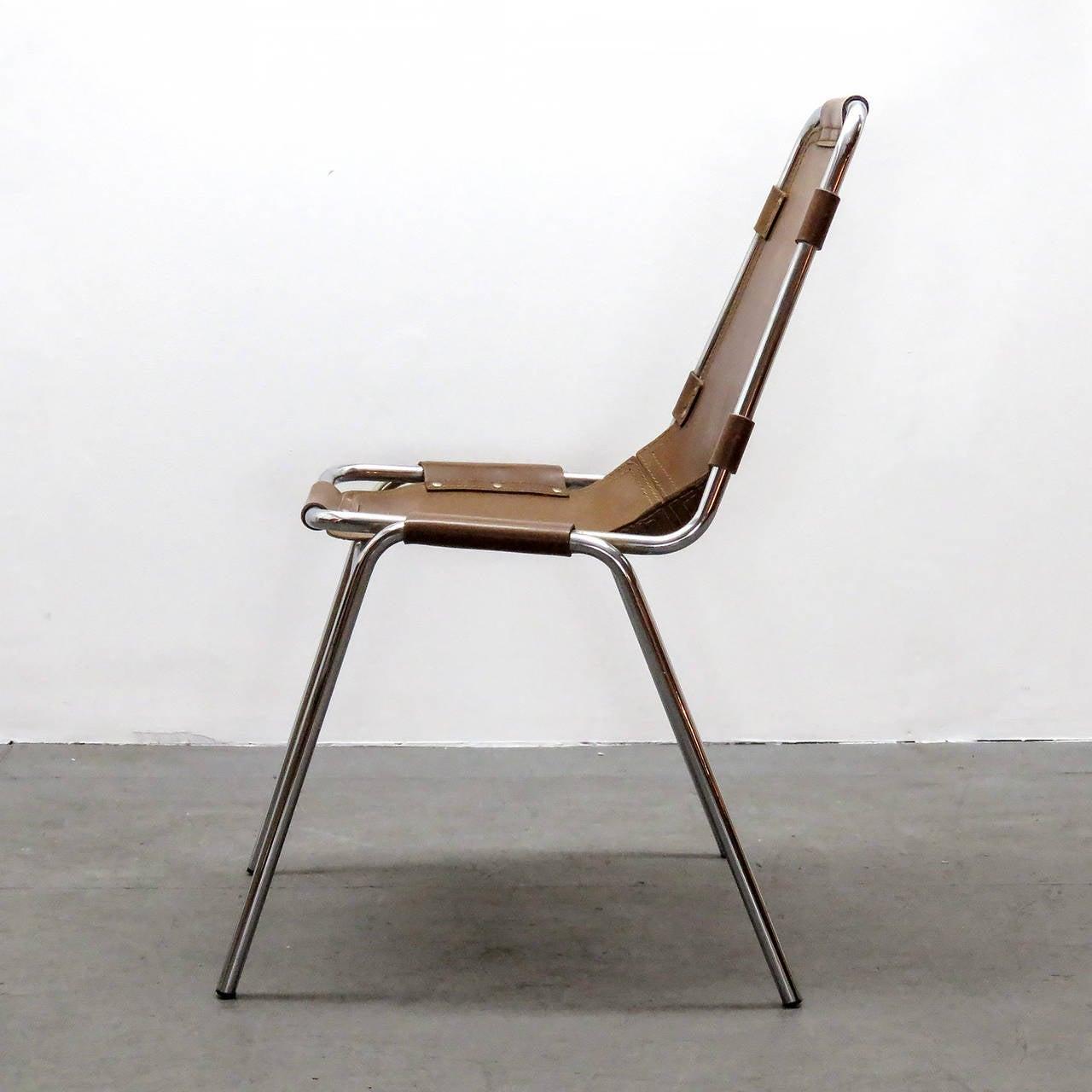 """Chrome Charlotte Perriand """"Les Arc"""" Chair"""
