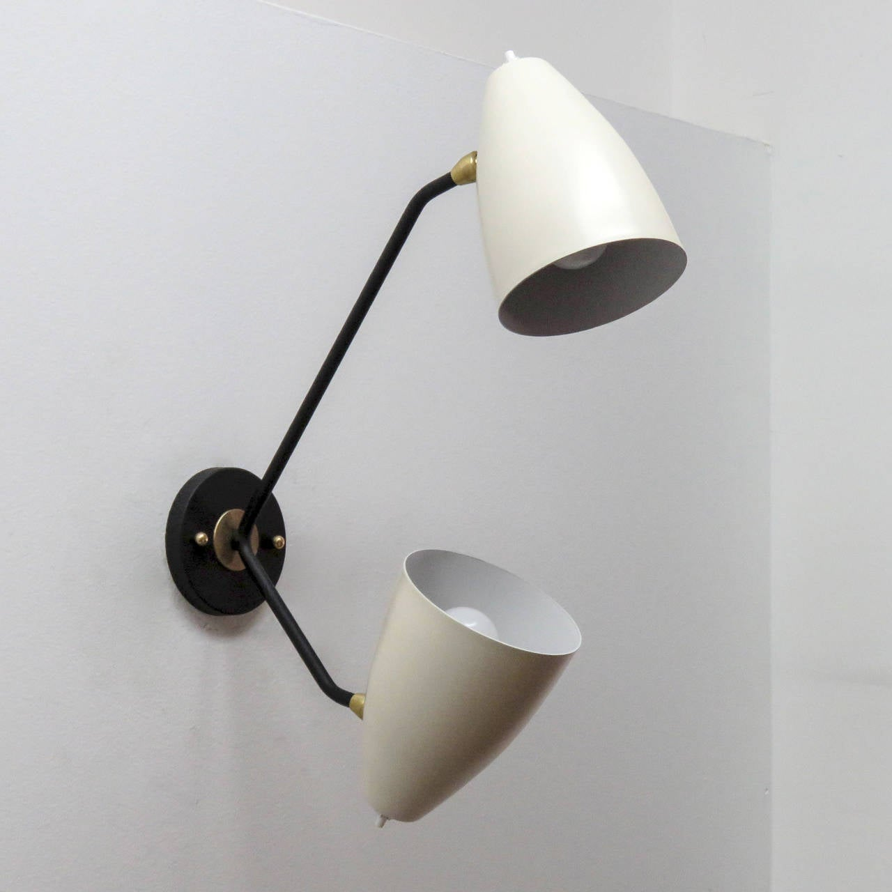 Double Arm Brass Wall Lights L3GG at 1stdibs