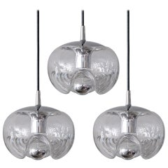 Set of Three Clear Glass Hanging Lights