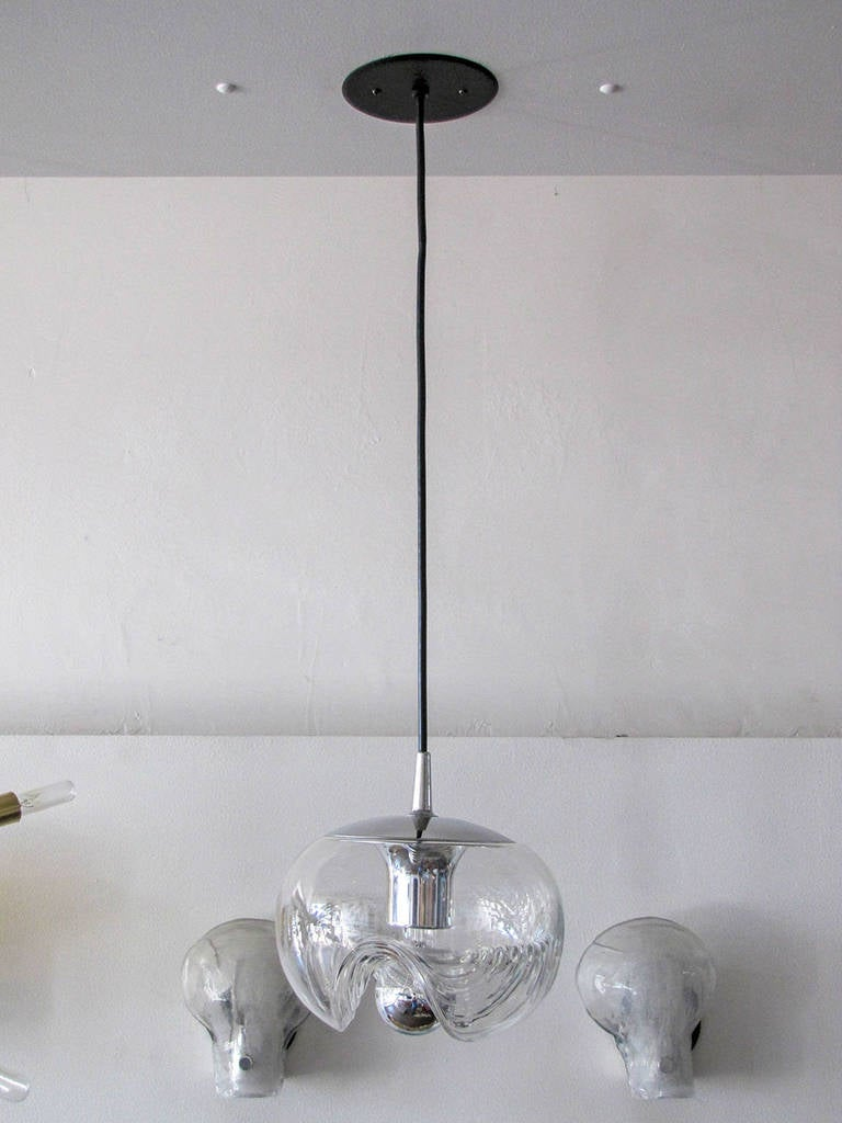 Set Of Three Clear Glass Hanging Lights For Sale At 1stdibs