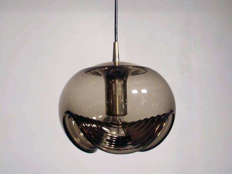 Mid-Century Modern Set of Three Smoked Glass Hanging Lights