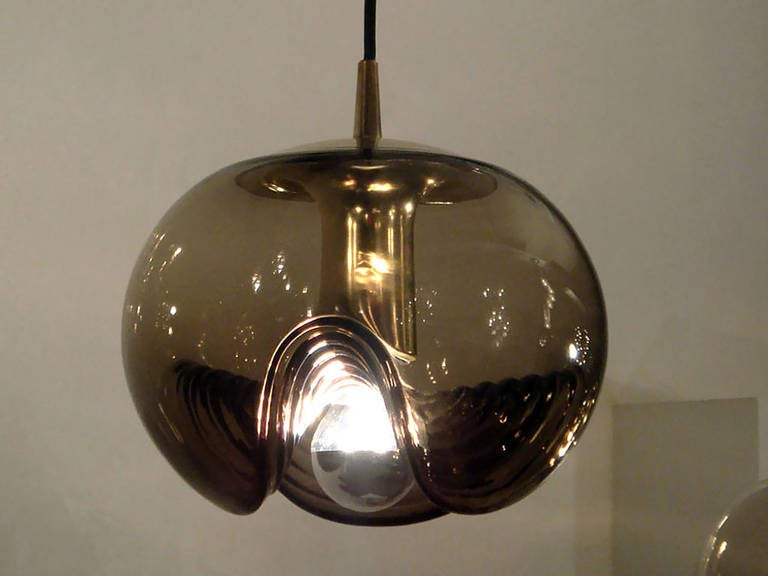 Polished Set of Three Smoked Glass Hanging Lights