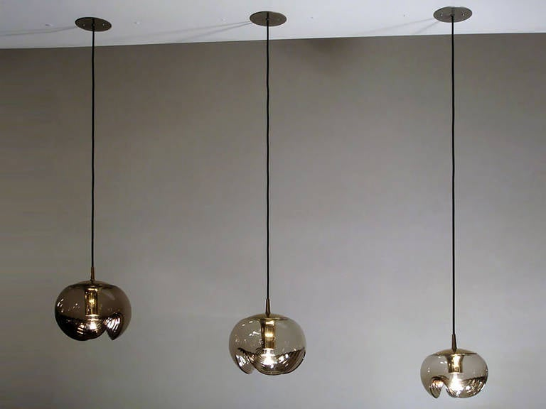 Set of Three Smoked Glass Hanging Lights In Excellent Condition In Los Angeles, CA