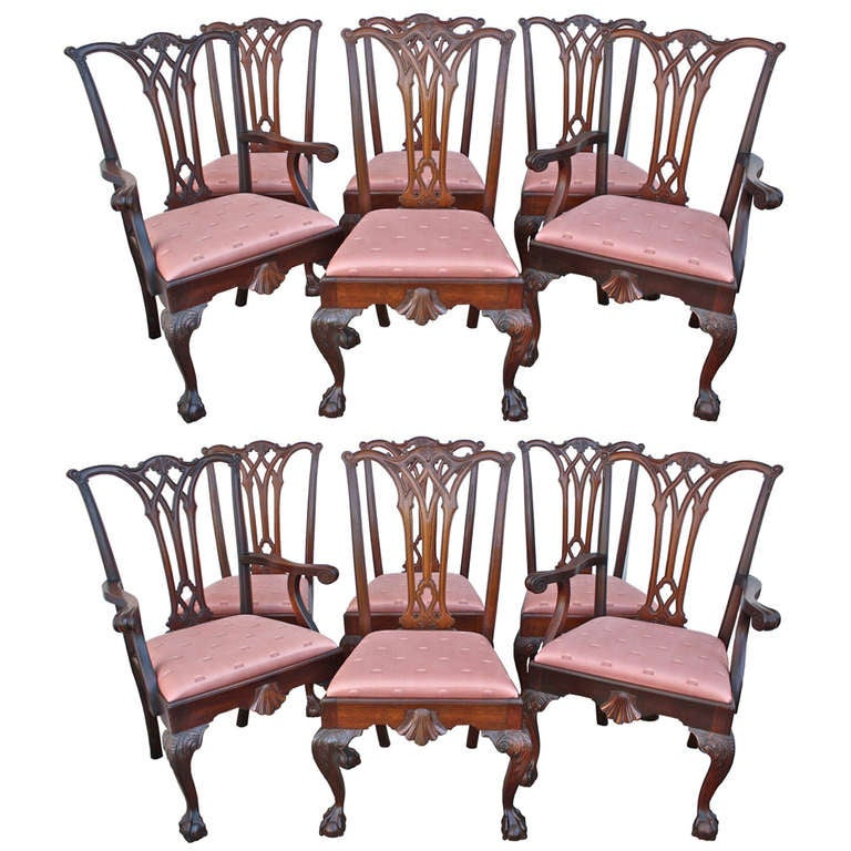 Set of philadelphia chippendale revival dining chairs
