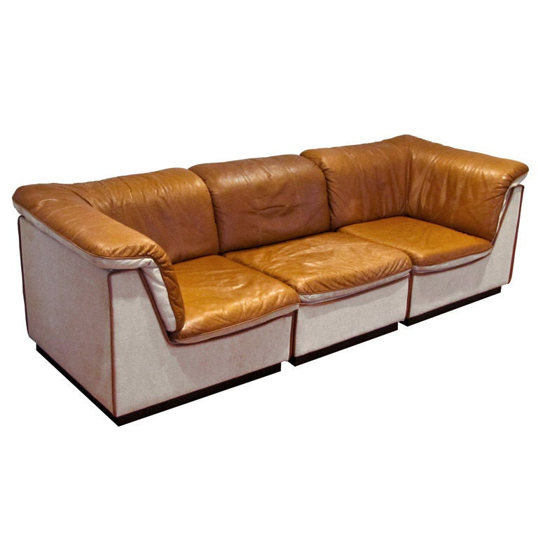 Finnish Modular Leather Sofa