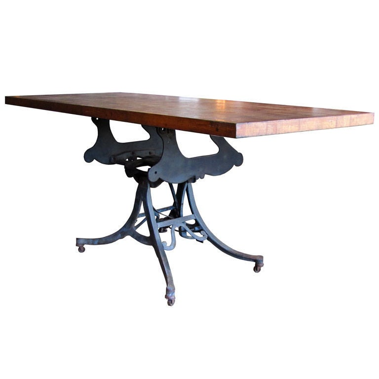 Large adjustable industrial table at 1stdibs