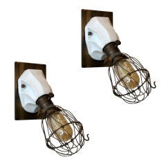 Pair of French Porcelain Cage Lights