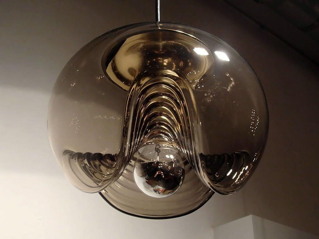 Set Of Three Smoked Glass Hanging Lights At 1stdibs