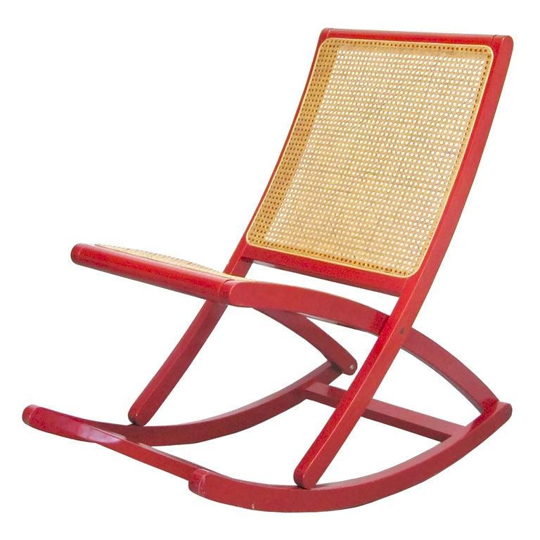 Danish Red Rocking Chair at 1stdibs