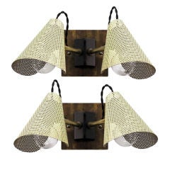 Pair of French Perforated Double Sconces