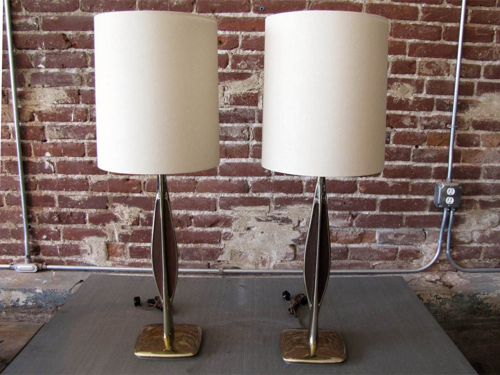 gorgeous slender brass bodies with wood inlays on either side, priced as a pair