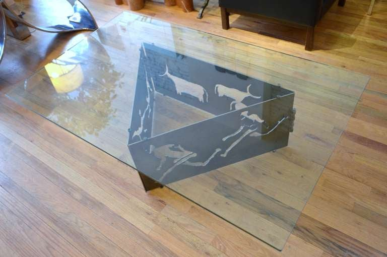 American Torch Cut Steel Coffee Table with Glass Top For Sale