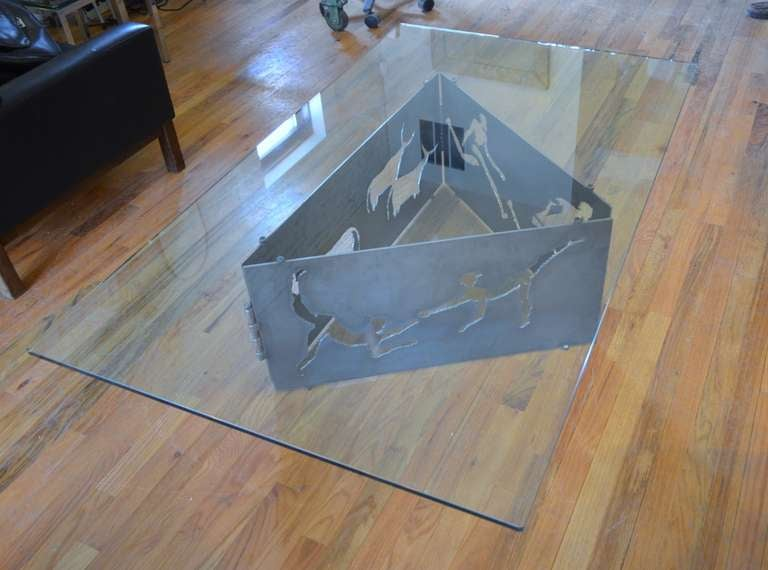 Mid-Century Modern Torch Cut Steel Coffee Table with Glass Top For Sale
