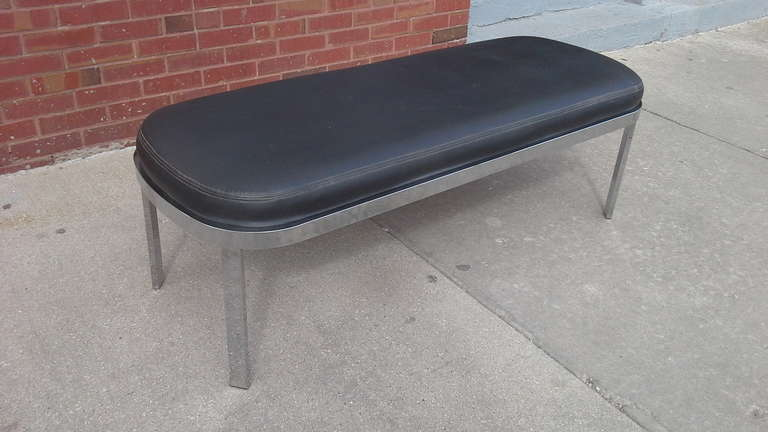 Large Mid Century leather and chrome racetrack bench by DIA.