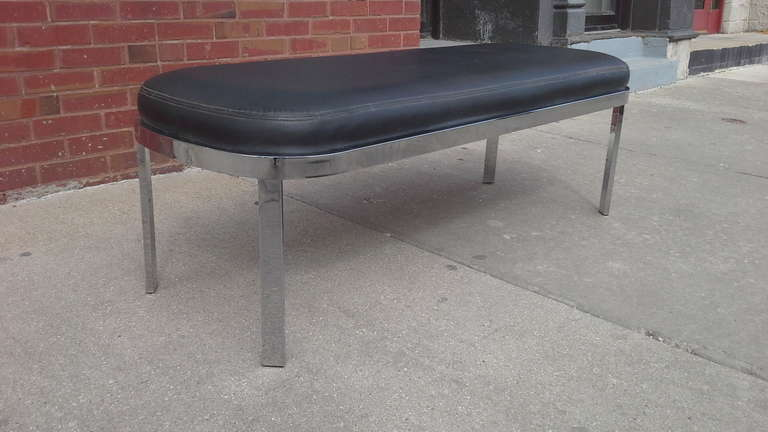 Mid-Century Modern Chrome Bench by Design Institute of America  For Sale