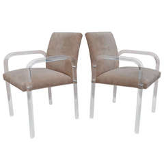 Pair of Thick Lucite Armchairs