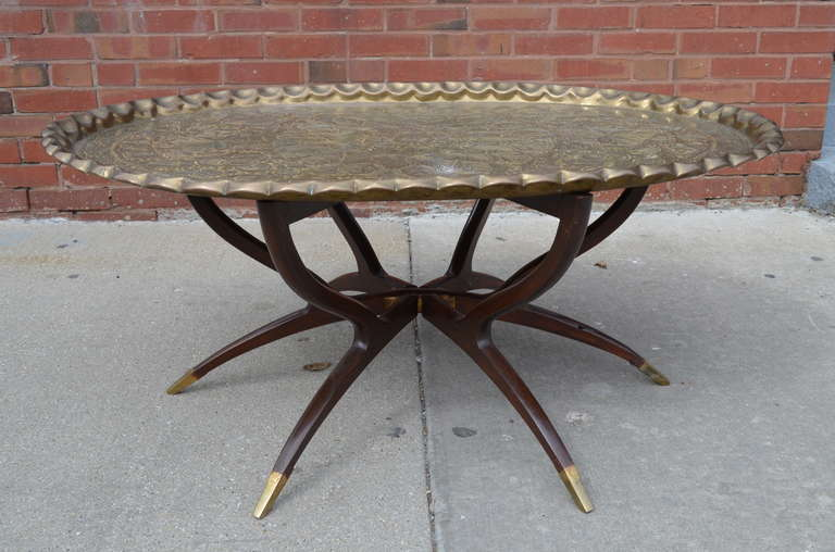 Mid Century Modern Large Vintage Br Tray Coffee Table On Midcentury Folding Base For