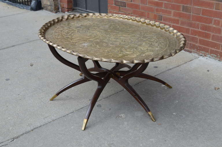 Large Vintage Brass Tray Coffee Table On Midcentury Folding Base For Sale At 1stdibs
