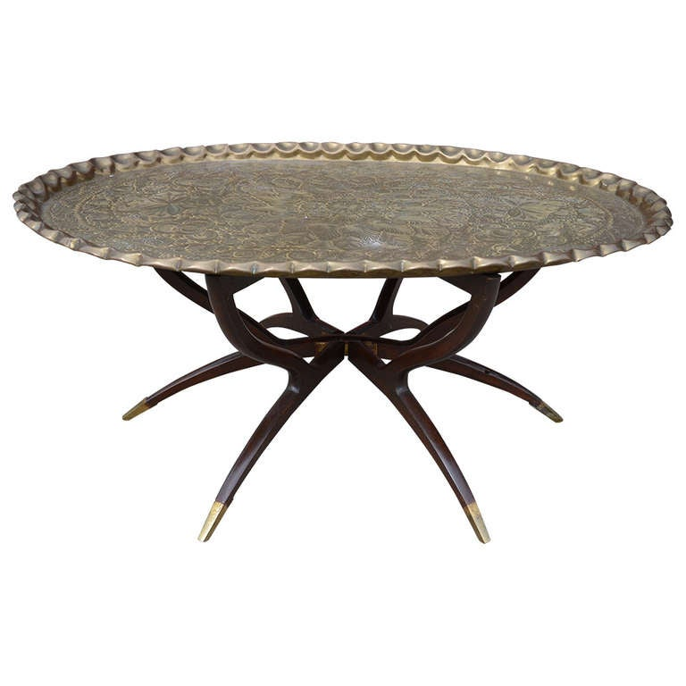 Large vintage brass tray coffee table on mid century folding base at 1stdibs Antique brass coffee table