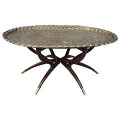 Large Vintage Brass Tray Coffee Table on Midcentury Folding Base