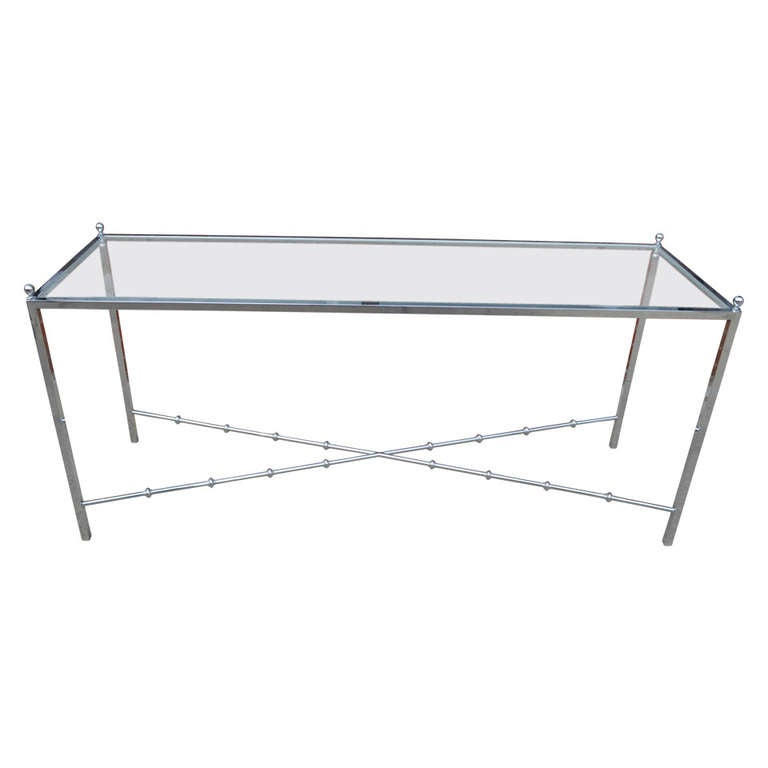 Long Chrome and Glass Console Table