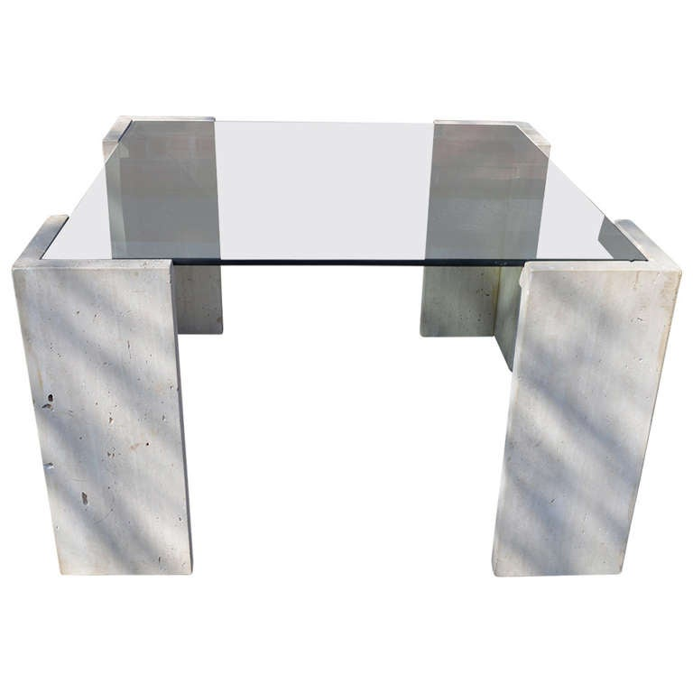 Travertine and Glass Coffee Table