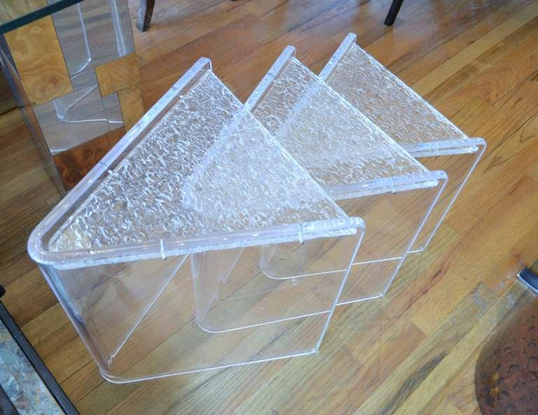 Set of three lucite nesting tables for sale at 1stdibs a set of three triangle lucite nesting tables the tables have clear lucite sides with watchthetrailerfo