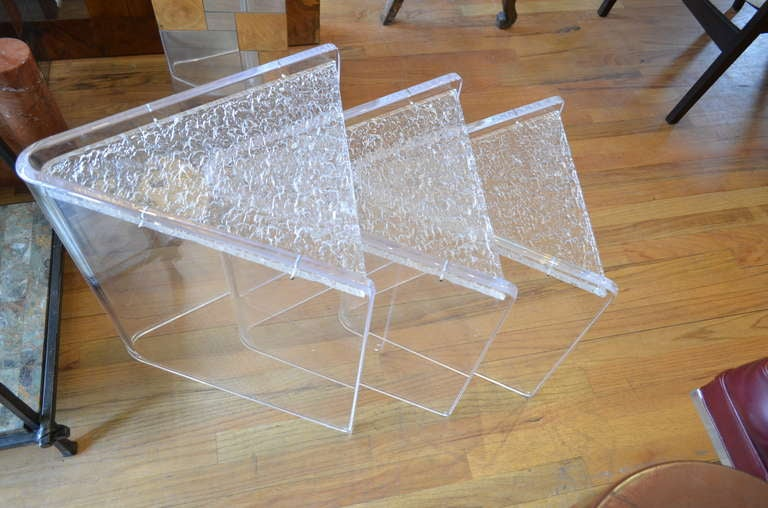 American Set Of Three Lucite Nesting Tables For Sale