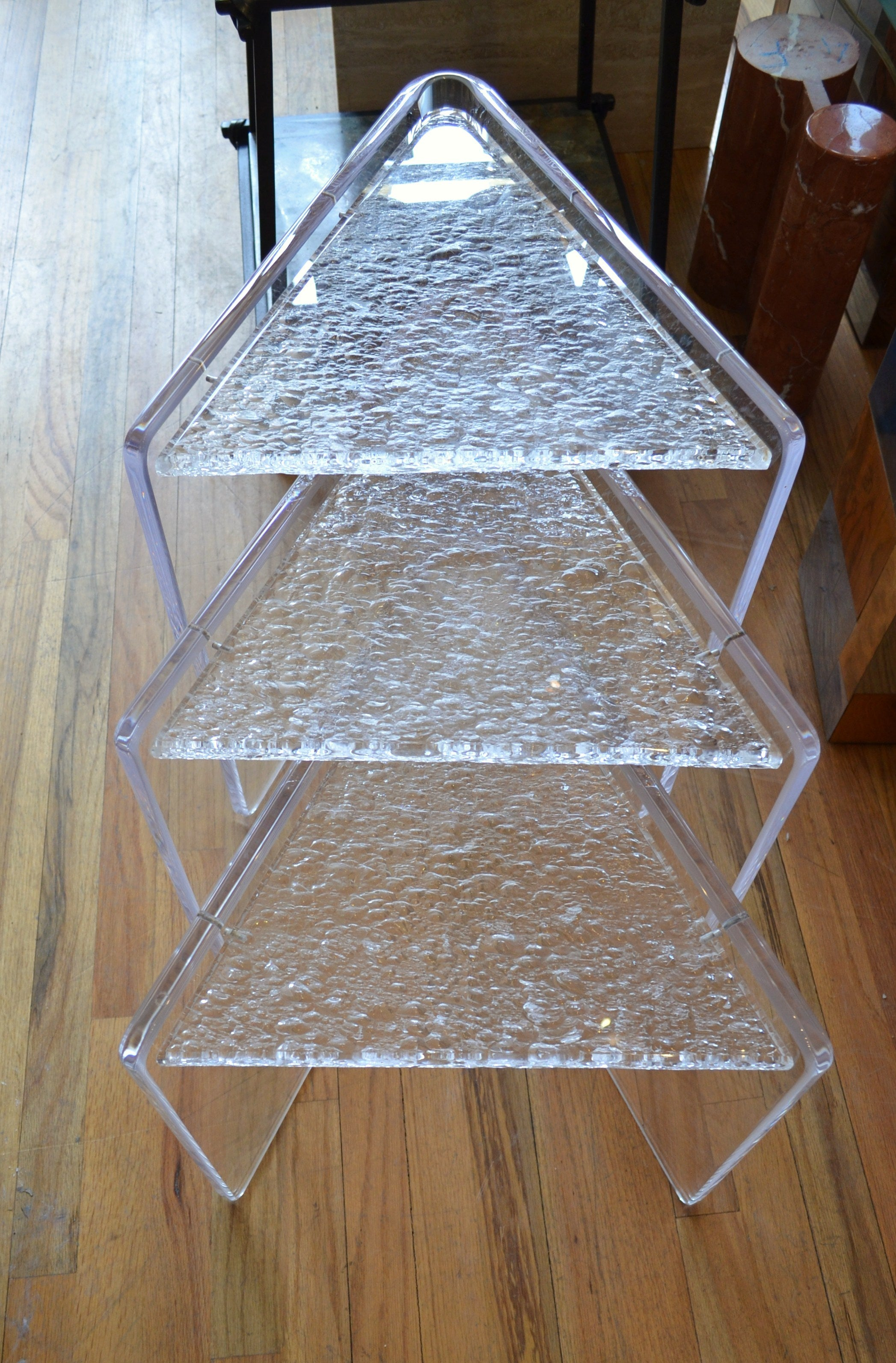 Set of Three Lucite Nesting Tables