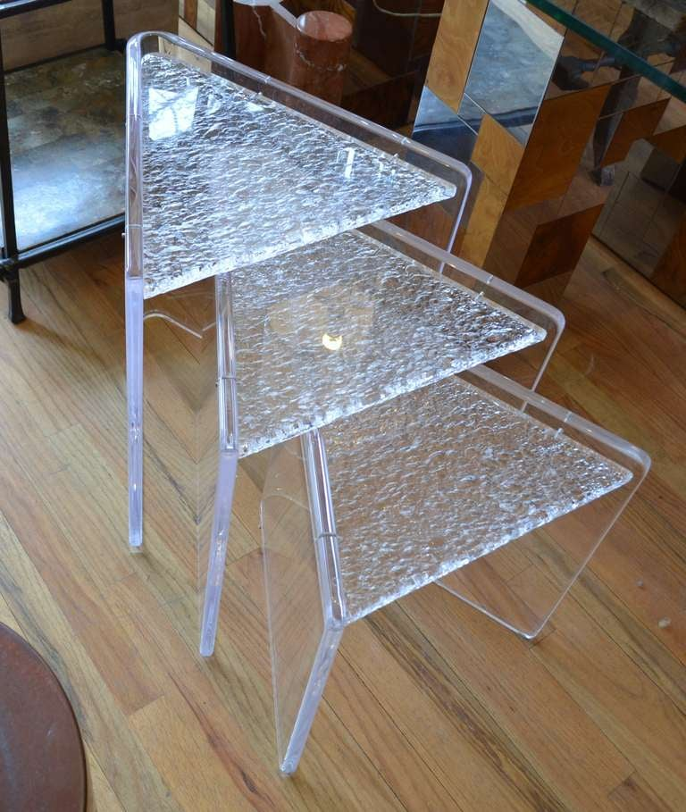 Set of three lucite nesting tables for sale at 1stdibs set of three lucite nesting tables in good condition for sale in chicago il watchthetrailerfo