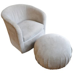 Vladimir Kagan Arm Chair and Pouff for Directional
