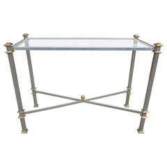 Maison Jansen Steel and Brass Console Table