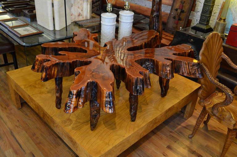 monumental cypress slab coffee table at 1stdibs With cypress slab coffee table