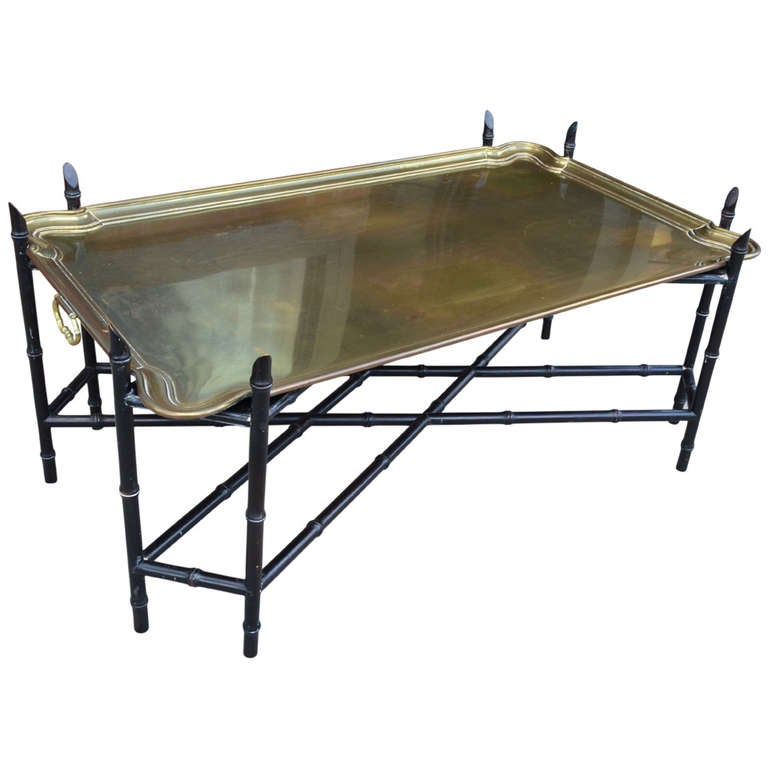 Brass tray coffee table at 1stdibs for Trays on coffee tables