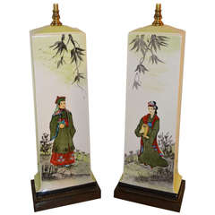 Pair of Chinoiserie Porcelain Table Lamps