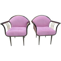 Pair of Design Institute of America DIA Memphis Style Bronze and Brass Armchairs
