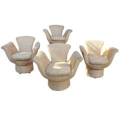 Set of Four Sculptural Tulip Shaped Swivel Chairs