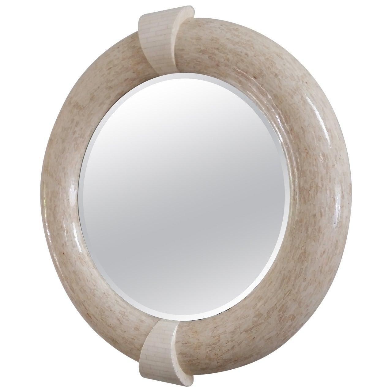 Karl Springer Style Tessellated Round Mirror