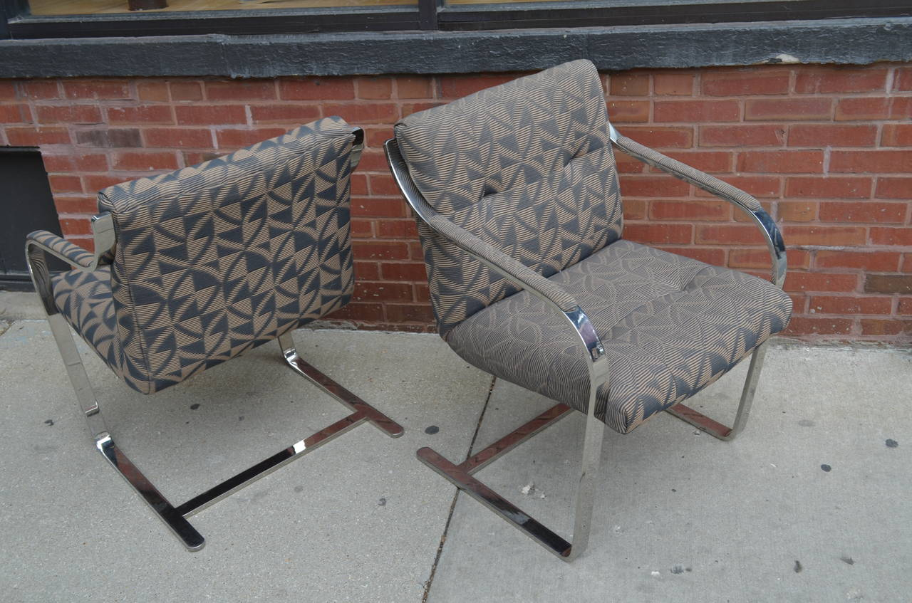 Set of Twelve Chrome Dining Chairs By Brueton In Good Condition For Sale In Chicago, IL