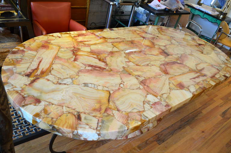 mosaic onyx racetrack dining table at 1stdibs